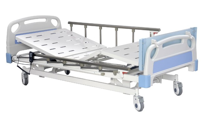 three function electric hospital bed overall detachable abs headfoot ends with blue decoration cards on the middle